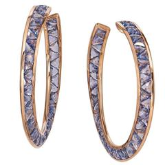22.10 Carat Sapphire Rose Gold Hoop Earrings