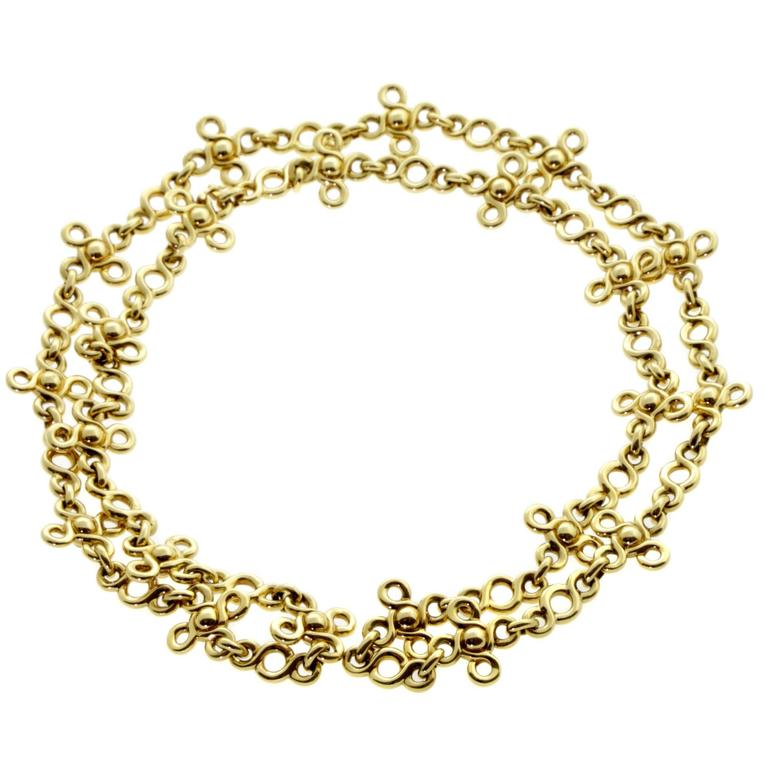 Chanel Gemstone Gold Sautoir Necklace For Sale