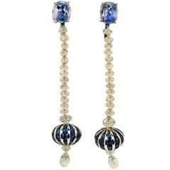 Fred Leighton Diamond Sapphire White Gold Dangle Earrings