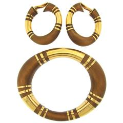 Rene Boivin  Gold Inlaid Wood Bangle Bracelet Earrings Set