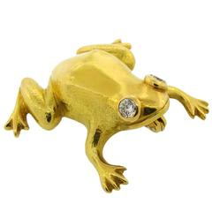 Hemmerle Diamond Yellow Gold Frog Pin Brooch Clip
