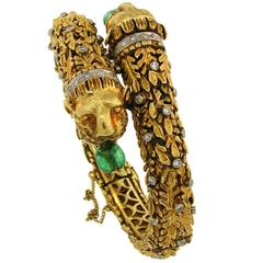 Zolotas Emerald Diamond Yellow Gold Bangle Bracelet 1970s