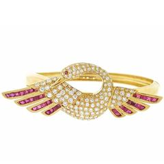 Ruby Diamond yellow gold Swan Bird Bangle Bracelet