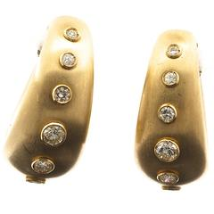 Pair of Diamond and Matte Yellow Gold 18 Karat Earrings by Christian Dior