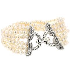 Bracelet White Gold 18 Karat 26.40g Pearls 144.80 Carat