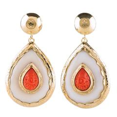 Gold Coral Nut Ivory Teardrop Small Earrings
