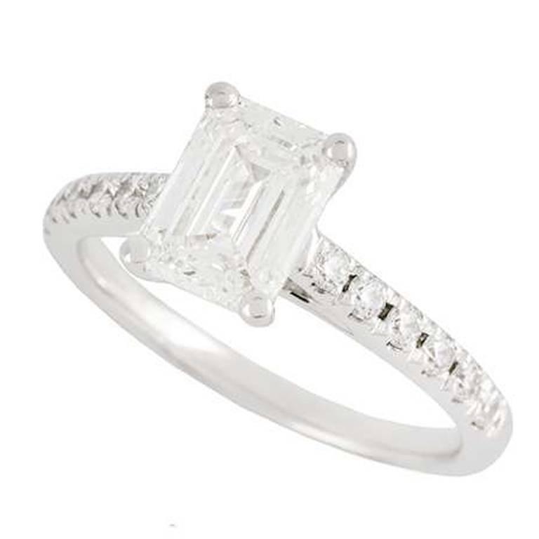 Emerald Cut Diamond Ring 1.34 Carat GIA Certified