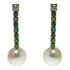 Gold Diamond Emerald Australian Pearl Dangle Earrings
