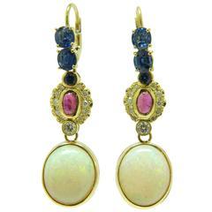 Modern Opal Sapphire Ruby Diamond Yellow Gold Earrings