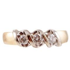 Three-Stone Diamond Wedding Ring in 14 Karat Gold