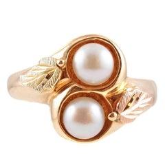 Pearl Yellow Rose Green Black Hills Gold Ring