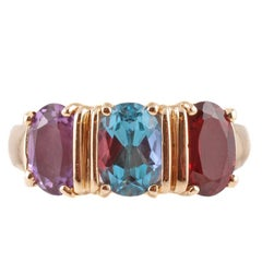 Amethyst Garnet Blue Topaz Yellow Gold Ring