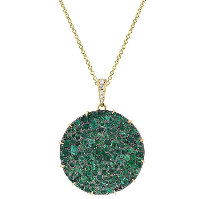 14 Karat Yellow Gold and Blackened Sterling Silver Emerald Pendant