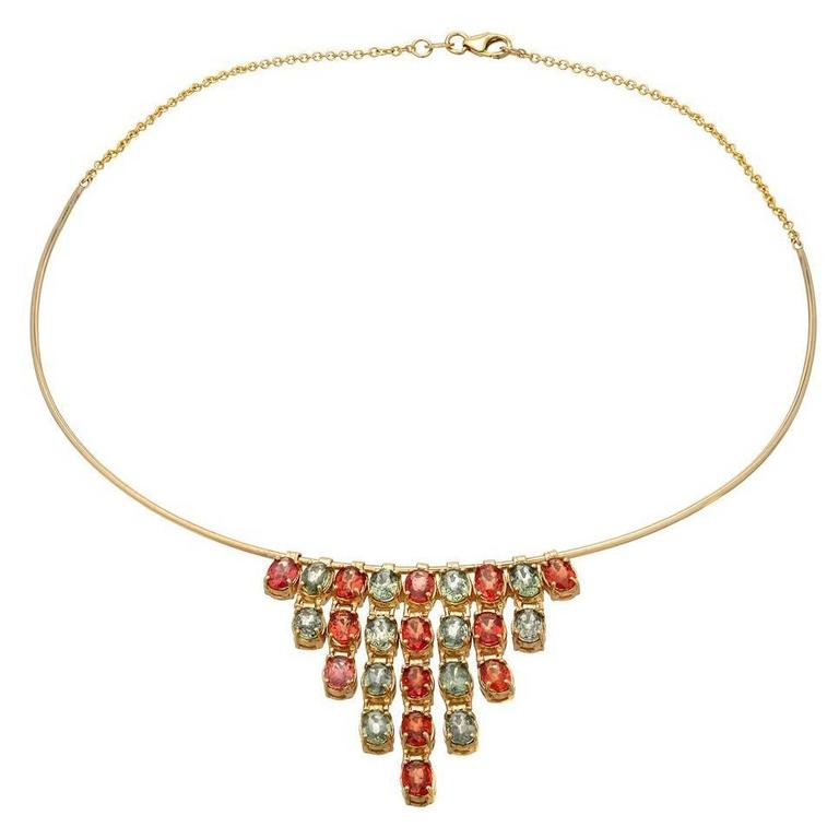 Boorma 18 Karat Yellow Gold Multi-Color Sapphire Chandelier Choker For Sale