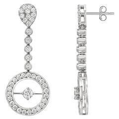 18 Karat White Gold Drop Circle 3.54 Carat Diamond Earrings