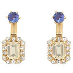 Boorma 18 Karat Diamond Frogalite and Ceylon Sapphire Ear Jacket