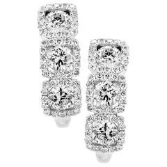 Classic 1.40 Carat Diamond Gold Earrings