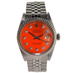 Rolex Stainless Steel Datejust with Orange Diamond Dial
