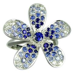 Blue Sapphire Diamond White Gold Flower Ring