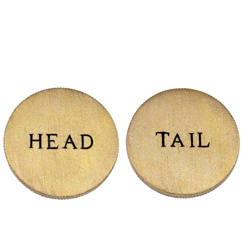 Enamel Gold Head or Tail Coin