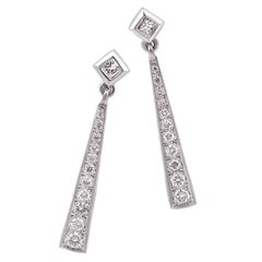 18 Carat Gold Long Diamond Drop Earrings Imp 'Gatsby' Range