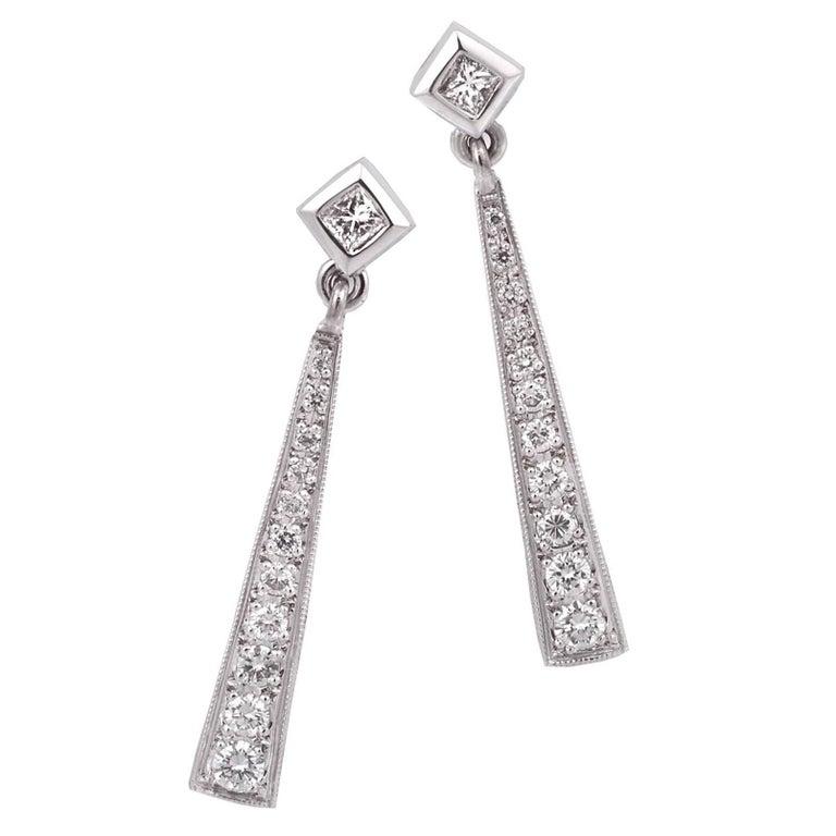 18 Carat Gold Long Diamond Drop Earrings Imp 'Gatsby' Range