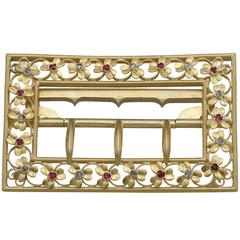 1860s Victorian Diamond and Ruby Yellow Gold Belt Buckle
