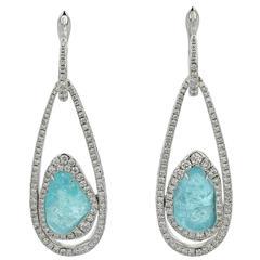 Earrings Gold 18 Karat Paraiba Tourmalines 8.72 Carat 351 Diamonds 1.64 Carat