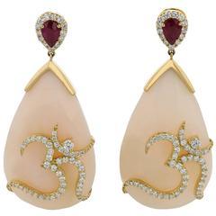 Earrings Pink Gold 18 Karat 9.90g Opals 33.51 Carat Rubies 0.86 Carat