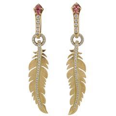 Earrings Pink Gold 18 Karat Pink Tourmalines 0.41 Carat, Diamonds 0.85 Carat