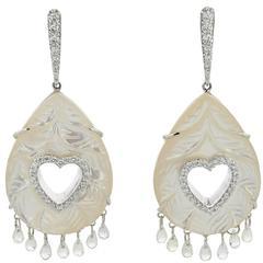 Earrings White Gold 18 Karat 8.60g Mother-of-pearl 26.34 Carat