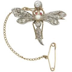 1880s Victorian Diamond Pearl Ruby and Yellow Gold 'Dragonfly' Brooch
