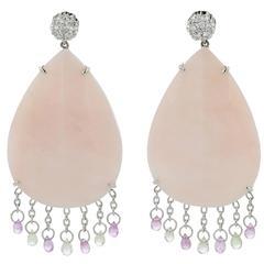 Earrings White Gold 18 Karat 6.60g Opals 38.28 Carat Pink Sapphires 2.07 Carat