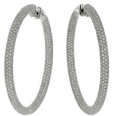 Earrings White Gold 18 Karat 24.00g White Diamonds 15.46 Carat