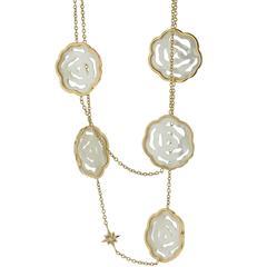Necklace Pink Gold 18 Karat 28.00g Mother-of-Pearl 95.19 Carat