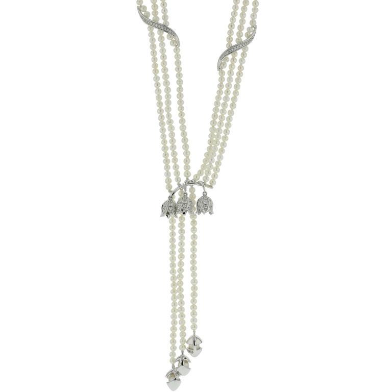 Pearls White Diamonds White Gold Necklace