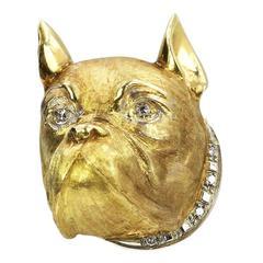 Diamond Gold Bulldog Brooch