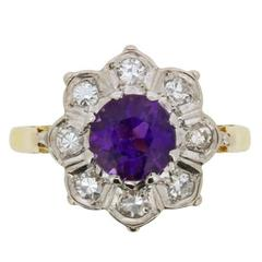 Vintage Amethyst and Diamond Flower Cluster Ring, circa 1940s