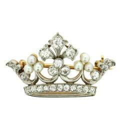 Vintage Old Cut Diamond and Pearl Crown Brooch, circa 1950s