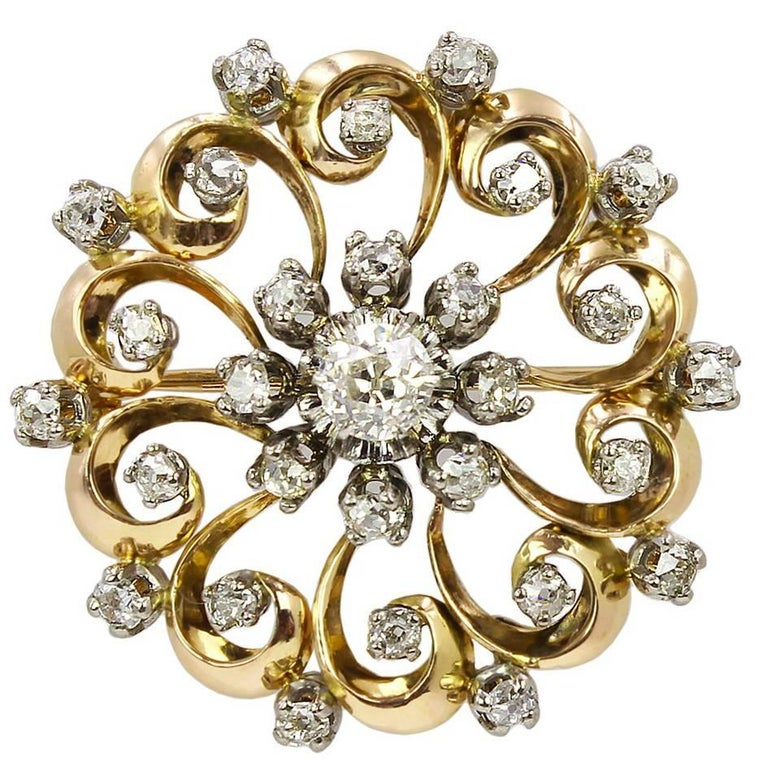 Late 19th Century Gold and Diamond Brooch