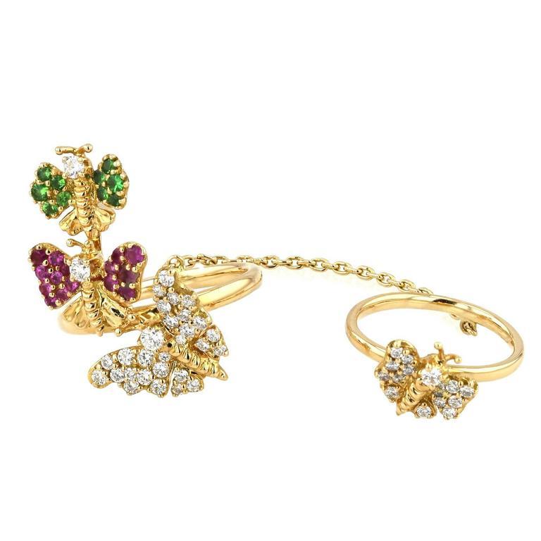 Ring Pink Gold 18 Karat 8.70g Pink Sapphires 0.21 Carat Tsavorites 0.12 Carat