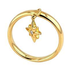Ring Pink Gold 18 Karat 5.00g White Diamond 0.04 Carat