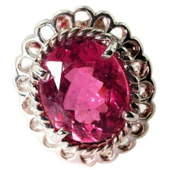5.5 Carat Pinky Red Natural Tourmaline Sterling Silver Ring