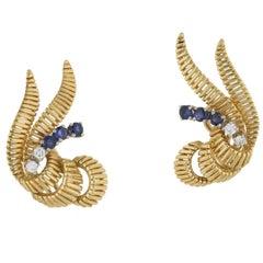 Diamond & Sapphire Clip-On Gold Earrings Circa 1950's