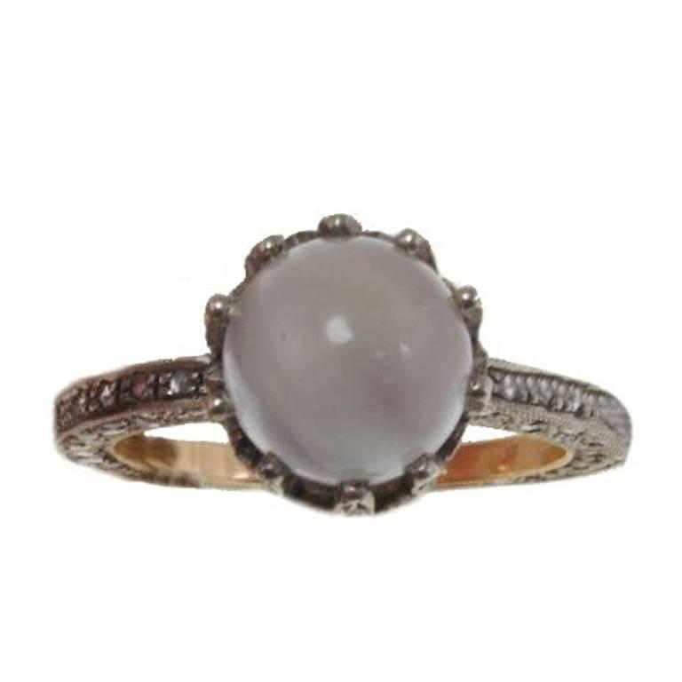 Gold Silver Diamond Moonstone Ring