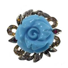 Sapphire Turquoise Paste Diamond Silver Rose Gold Ring