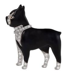 1920's Art Deco Diamond Enamel Platinum Boston Terrier Brooch