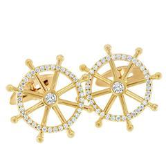 1.05 Carat Diamond Nautical Gold Cuff Links