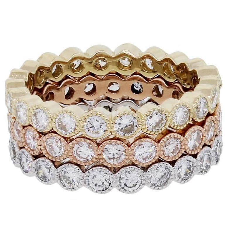 Three Stackable 3.05 Carat Diamonds Tricolor Gold Eternity Band Rings