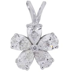 0.99 Carat Diamond White Gold Flower Pendant